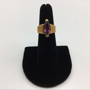 New Ring Heavy Gold Plated Marquise Cut 5 Purple
